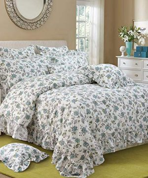 FADFAY Duvet Cover Set Full Farmhouse Bedding Vintage Shabby Floral Bedding 100 Cotton Super Soft Hypoallergenic Princess Ruffle Designer Bedding With Hidden Zipper Closure 3 Pieces Full Size 0 300x360