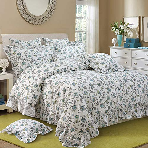 FADFAY Duvet Cover Set Full Farmhouse Bedding Vintage Shabby Floral Bedding 100 Cotton Super Soft Hypoallergenic Princess Ruffle Designer Bedding With Hidden Zipper Closure 3 Pieces Full Size 0