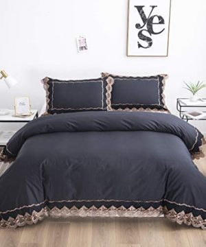 FADFAY Farmhouse Shabby Luxury Black Lace Chic Bedding Set 100 Cotton Duvet Cover Set Queen Size Reversible Hypoallergenic Super Soft With Hidden Zipper Closure 3 Pieces 0 300x360