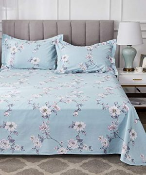 FADFAY Farmhouse Sheets Set Full Size Premium 100 Cotton Simple Floral Comfortor Cover Ultra Soft And Hypoallergenic Designer Bedding 4 Pieces1 Flat Sheet 1 Fitted Sheet2 Pillowshams 0 5 300x360