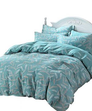 FADFAY Fashionable Teal Floral Farmhouse Bedding 100 Cotton Hypoallergenic Duvet Cover Set With Hidden Zipper Closure Full Size 3 Pieces 0 300x360