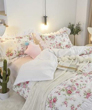 FADFAY Ruffled Duvet Cover Set 3 Pieces 100 Cotton Farmhouse Floral Duvet Cover Set Bulgaria Rose 100 Cotton 3 Piece 1 Zipper Duvet Cover 2Pillowshams Full Size 0 300x360