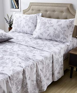 FADFAY Sheet Set Queen Farmhouse Bedding Shabby Floral Vintage Bedding 100 Cotton Super Soft Hypoallergenic White And Grey Deep Pocket Fitted Sheet 4 Pieces Queen Size 0 300x360