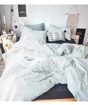 FOSSA Washed Cotton Duvet Cover Set King 3 Piece Bedding Sets Soft Wrinkled Striped Design King WhiteBlack Stripes 0 300x360