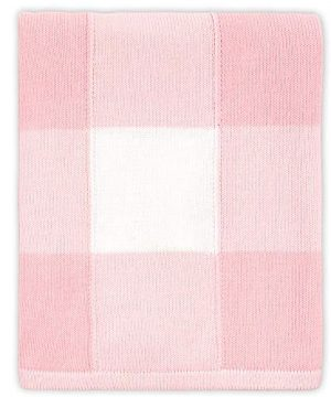 Farmhouse Large Pink And White Check Baby Blanket Rustic Chic 100 Cotton Sweater Knit 0 0 300x360