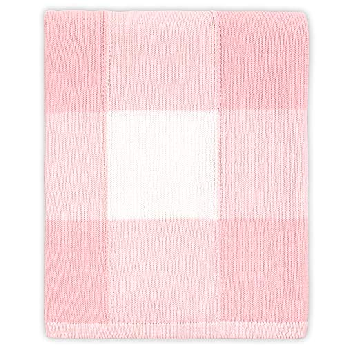 Farmhouse Large Pink And White Check Baby Blanket Rustic Chic 100 Cotton Sweater Knit 0 0