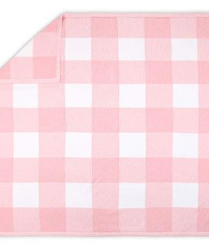 Farmhouse Large Pink And White Check Baby Blanket Rustic Chic 100 Cotton Sweater Knit 0 300x360
