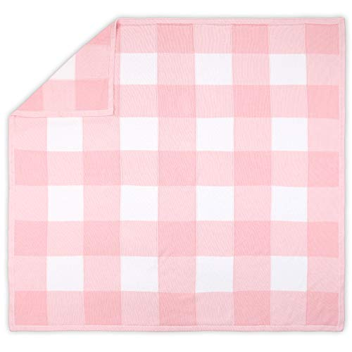 Farmhouse Large Pink And White Check Baby Blanket Rustic Chic 100 Cotton Sweater Knit 0