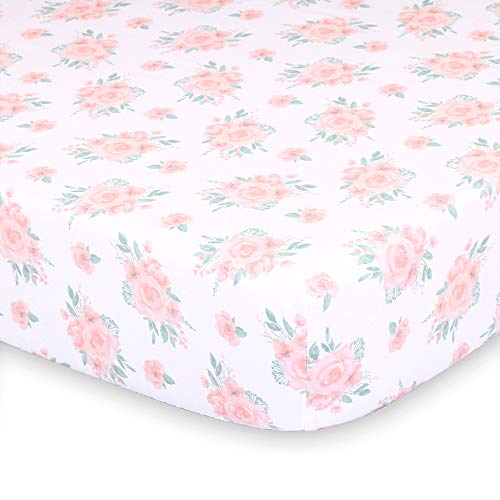 Farmhouse Pink 3 Piece Baby Crib Bedding Set Floral Rustic Country Theme 0 2