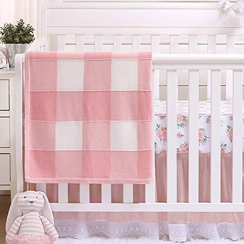 Farmhouse Pink 3 Piece Baby Crib Bedding Set Floral Rustic Country Theme 0