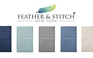 Feather Stitch 500 Thread Count 100 Cotton Stripe Sheets 2 Pillowcases Soft Sateen Weave Deep Pocket Hotel Collection Luxury Bedding Set Semolina Queen 0 1 300x187