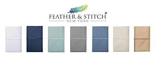 Feather Stitch 500 Thread Count 100 Cotton Stripe Sheets 2 Pillowcases Soft Sateen Weave Deep Pocket Hotel Collection Luxury Bedding Set Semolina Queen 0 1