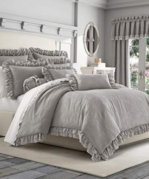 Five Queens Court Alloy Emelia Cotton Matelasse Floral Ruffle Trim Country Comforter Set Grey FullQueen 96x92 0 300x360