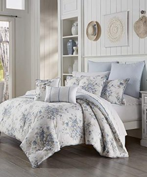 Five Queens Court Frannie 100 Cotton Floral Farmhouse Comforter Set Blue King 110x96 0 300x360