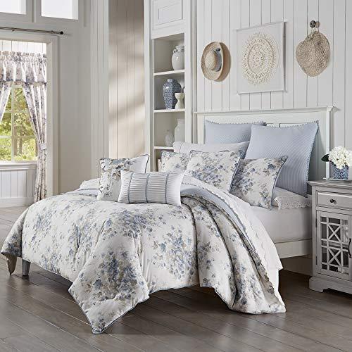 Five Queens Court Frannie 100 Cotton Floral Farmhouse Comforter Set Blue King 110x96 0