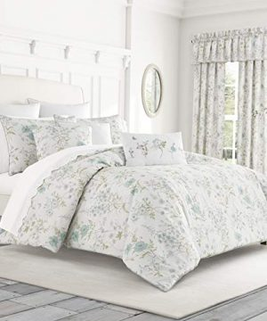 Five Queens Court Kate Swiss Dot 100 Cotton Floral Farmhouse Comforter Set White FullQueen 92x96 0 300x360