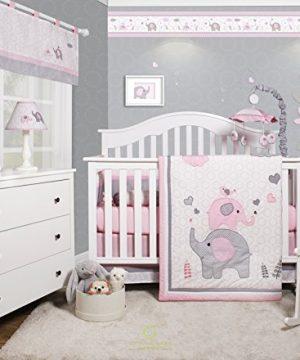 GEENNY OptimaBaby Pink Grey Elephant 6 Piece Baby Girl Nursery Crib Bedding Set 0 300x360