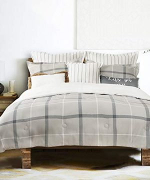 GS Home Fashions 100 Cotton Comforter Set Farmhouse Plaid 5 Piece Bed Comforter Set Cal King Size Warm And Cozy Bedding Collection Ultra Soft Reversible 1 Comforter 2 Shams 2 Accent Pillows 0 300x360