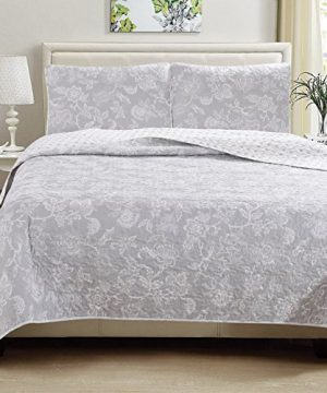 Great Bay Home 3 Piece Reversible Quilt Set With Shams All Season Bedspread With Floral Print Pattern In Contemporary Colors Emma Collection Brand King Grey 0 0 300x360