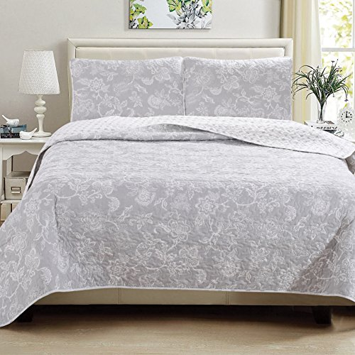 Great Bay Home 3 Piece Reversible Quilt Set With Shams All Season Bedspread With Floral Print Pattern In Contemporary Colors Emma Collection Brand King Grey 0 0