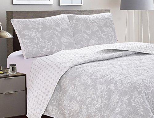 Great Bay Home 3 Piece Reversible Quilt Set With Shams All Season Bedspread With Floral Print Pattern In Contemporary Colors Emma Collection Brand King Grey 0 1