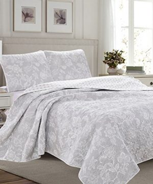 Great Bay Home 3 Piece Reversible Quilt Set With Shams All Season Bedspread With Floral Print Pattern In Contemporary Colors Emma Collection Brand King Grey 0 300x360