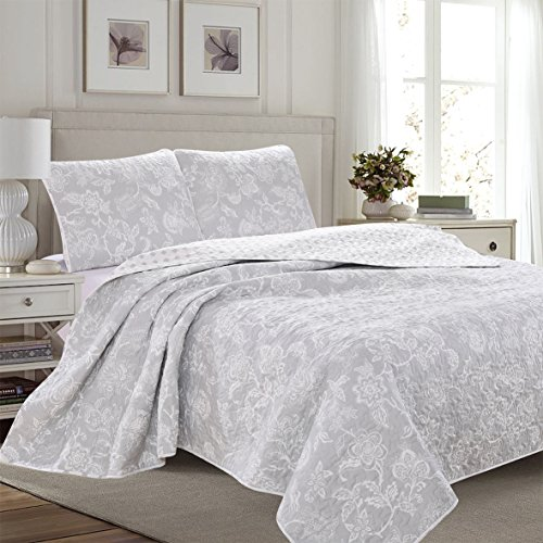 Great Bay Home 3 Piece Reversible Quilt Set With Shams All Season Bedspread With Floral Print Pattern In Contemporary Colors Emma Collection Brand King Grey 0