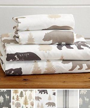 Great Bay Home 4 Piece Lodge Printed Ultra Soft Microfiber Sheet Set Beautiful Patterns Drawn From Nature Comfortable All Season Bed Sheets Full Bear 0 300x360