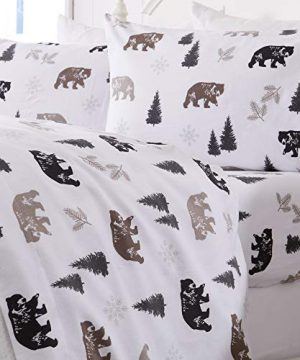 Great-Bay-Home-Extra-Soft-Printed-100-Turkish-Cotton-Flannel-Sheet-Set-Warm-Cozy-Luxury-Winter-Bed-Sheets-Belle-Collection-Queen-Rustic-Bear-0