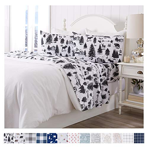 Great Bay Home Extra Soft Printed 100 Turkish Cotton Flannel Sheet Set Warm Cozy Luxury Winter Bed Sheets Belle Collection Twin December Frost 0 0