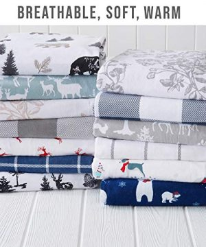 Great Bay Home Extra Soft Printed 100 Turkish Cotton Flannel Sheet Set Warm Cozy Luxury Winter Bed Sheets Belle Collection Twin December Frost 0 2 300x360