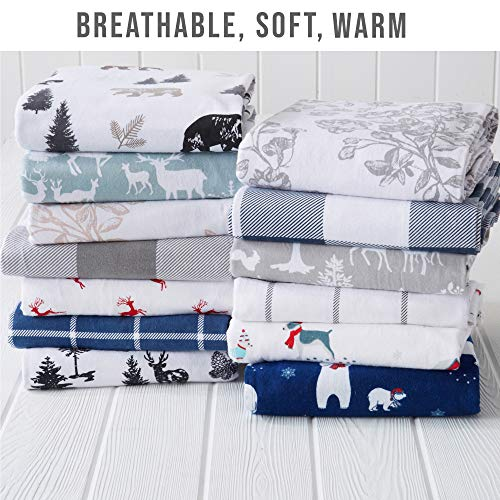 Great Bay Home Extra Soft Printed 100 Turkish Cotton Flannel Sheet Set Warm Cozy Luxury Winter Bed Sheets Belle Collection Twin December Frost 0 2
