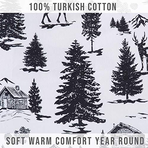 Great Bay Home Extra Soft Printed 100 Turkish Cotton Flannel Sheet Set Warm Cozy Luxury Winter Bed Sheets Belle Collection Twin December Frost 0 3