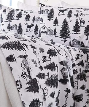 Great Bay Home Extra Soft Printed 100 Turkish Cotton Flannel Sheet Set Warm Cozy Luxury Winter Bed Sheets Belle Collection Twin December Frost 0 300x360