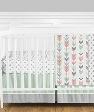 Grey Coral And Mint Woodland Arrow 4 Piece Girls Crib Bed Bedding Set Without Bumper 0 300x360