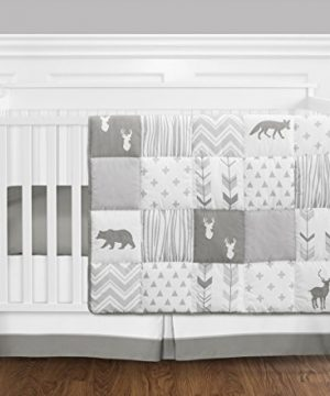Grey And White Woodsy Deer Boy Girl Unisex Baby Crib Bedding Set Without Bumper By Sweet JoJo Designs 4 Pieces 0 300x360