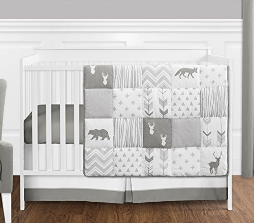 Grey And White Woodsy Deer Boy Girl Unisex Baby Crib Bedding Set Without Bumper By Sweet JoJo Designs 4 Pieces 0
