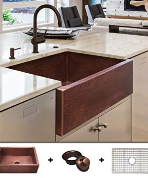 HEAVY GAUGE 12 Gauge Luxury 30 Inch Modern Copper Farmhouse Sink 482 LBS Pure Copper Apron Front Single Bowl Antique Copper Finish Grid And Flange Included FSW1104 By Fossil Blu 0 300x360