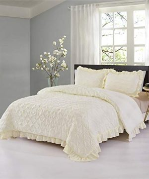 HIG Pinch Pleated Comforter Set King Ivory Lace Ruffled Super Soft Hypoallergenic Prewashed Microfiber Shabby Chic Farmhouse Style Pintuck Ruffled 3 Piece Bedding Set Brianna King Ivory 0 300x360