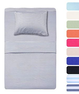 HIGHEST QUALITY 3 Piece Bed Sheet Set With 1 Pillow Cases Navy PinstripeClassic Pattern Sheets Twin Deep PocketGreat Value Ultra Soft BreathableHypoallergenic Bedding 0 300x360