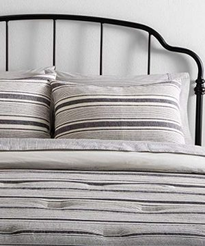 HNU 2 Piece Farmhouse Comforter Set Twin Casual Contemporary Yarn Dye Stripe Soft Cozy Comfy Cotton Linen Blend 0 300x360