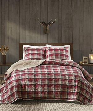HNU 3 Piece Patchwork Plaid Quilt Set QueenFull Farmhouse Cabin Lodge Casual Contemporary Classic Checkered All Season Red Beige Lightweight Decorative Soft Cozy Comfy Cotton Percale 0 300x360