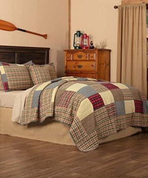 HNU 4 Piece Patchwork Plaid Quilt Set Queen Country Farmhouse Cabin Lodge Rustic Bedspread All Season Decorative Warm Cozy Comfy Cotton Batting 0 300x360