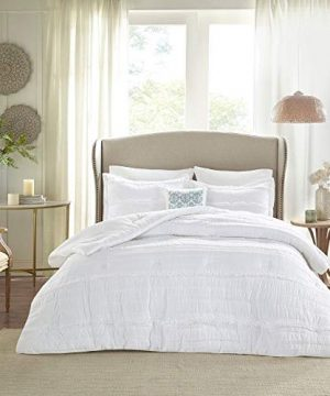 HNU 5 Piece Farmhouse Comforter Set Queen Ruched Textured Serene Ruffled Chic Warm Elegant Contemporary Soft Cozy Comfy Microfiber Bed Skirt Included 0 0 300x360