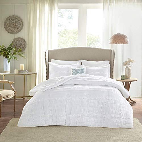 HNU 5 Piece Farmhouse Comforter Set Queen Ruched Textured Serene Ruffled Chic Warm Elegant Contemporary Soft Cozy Comfy Microfiber Bed Skirt Included 0 0