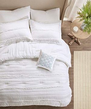HNU 5 Piece Farmhouse Comforter Set Queen Ruched Textured Serene Ruffled Chic Warm Elegant Contemporary Soft Cozy Comfy Microfiber Bed Skirt Included 0 1 300x360