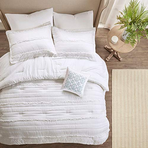 HNU 5 Piece Farmhouse Comforter Set Queen Ruched Textured Serene Ruffled Chic Warm Elegant Contemporary Soft Cozy Comfy Microfiber Bed Skirt Included 0 1