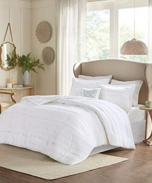 HNU 5 Piece Farmhouse Comforter Set Queen Ruched Textured Serene Ruffled Chic Warm Elegant Contemporary Soft Cozy Comfy Microfiber Bed Skirt Included 0 300x360