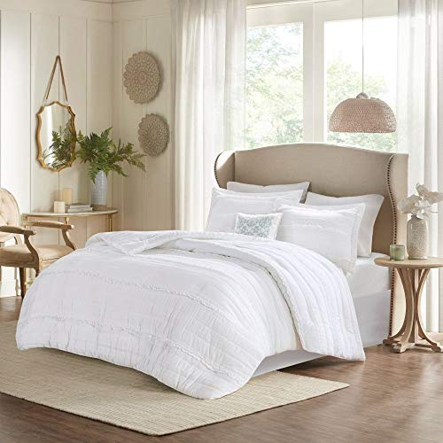 HNU 5 Piece Farmhouse Comforter Set Queen Ruched Textured Serene Ruffled Chic Warm Elegant Contemporary Soft Cozy Comfy Microfiber Bed Skirt Included 0