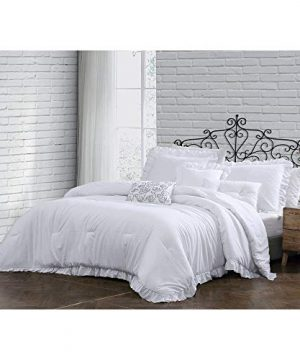 HNU 6 Piece All Season Solid Color Pattern White Queen Comforter Set Beautiful Charm Ruffled Edges Super Soft Farmhouse Bedding Set Casual Comfort Extra Warm Comfy Durable Cozy Comforter Set 0 300x360